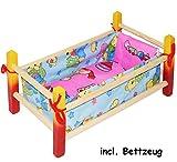 alles-meine.de GmbH Puppenbett aus Holz -  Mädchen Farben  - 40 cm lang - aus Naturholz - für...