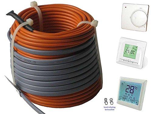 Fußbodenheizung Elektro lose Heizleitung Temperaturregler TWIN Technik 1-20 qm, inkl. Regler - nur 3-4 mm Aufbauhöhe, Regler:Nr 520 (Digital-Regler), Länge Heizleitung:155 m