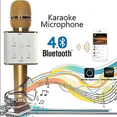 E.life Q7 Multi-function Wireless Handheld Condenser Microphone Portable KTV Karaoke Stereo Player Bluetooth Hi-Fi Mic Speaker for iPhone/ iPad/ iPod/ Sony/Samsung/HTC/ Lumia Smart Phones, Tablets, Computers