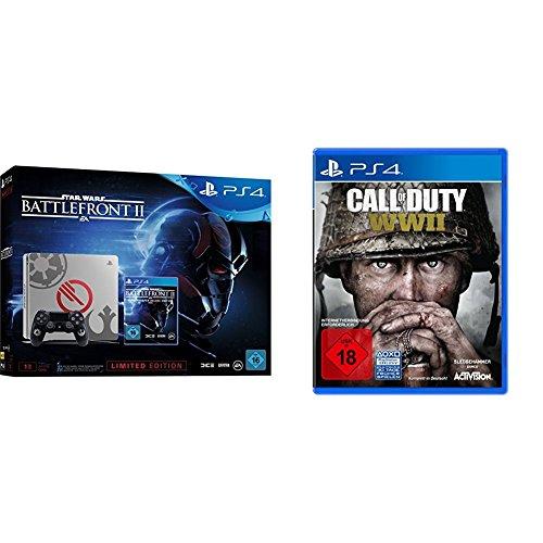 PlayStation 4 - Konsole (1TB, schwarz) im Limited Star Wars Battlefront 2 Design inkl. Star Wars Battlefront II Elite Trooper Deluxe Edition (exkl. bei Amazon.de) + Call of Duty: WWII - Standard Edition