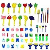 Lenhart Ensemble d'art plastique 56pièces, comprenant éponges, pinceaux, brosses et les 26lettres de l'alphabet en mousse