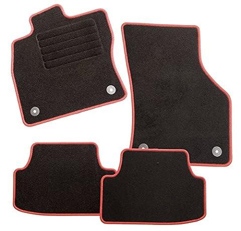 ExquiPlus Passform Auto Fußmatte, Dilour Velours in anthrazit mit roter Hochglanzkettelung und Mattenhaltern für VW Polo III , Baujahr 05/2000-10/2001