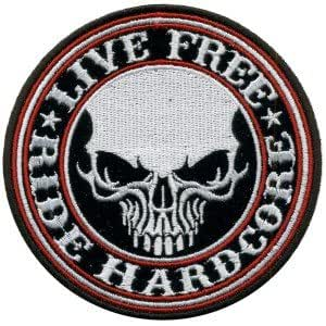 Ecusson brode patch LIVE FREE RIDE HARDCORE Biker Motorcycles Vest Iron or sew On Patch by wonderfullmoon