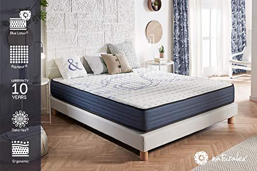 NATURALEX Matelas PerfectSleep - Noyau UHR Bi Densité Blue Latex et Aquapur - Très Respirant - 16 cm - 180 x 200 cm