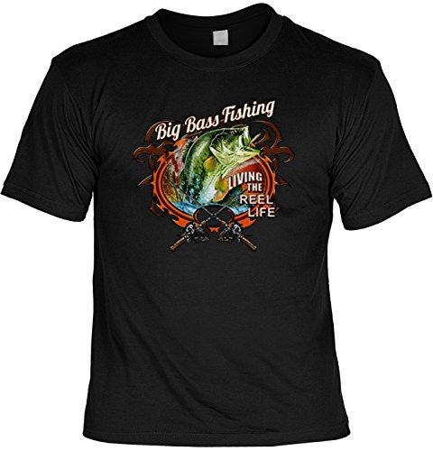 Angler T-Shirt Fische - Angelshirt Angelsport : Big Bass Fishing -- Bekleidung Angeln Gr: 5XL (Angeln Fischen Bass T-shirt)