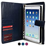 Apple iPad Air 2 étui avec bloc-notes, porte-documents COOPER FOLDERTAB Premium professionnel Organisateur portefeuille pour gaucher/droitier, bloc-notes remplaçable, pochettes (Bleu)