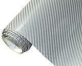 Neoxxim 21,20€/m2 Premium Auto Folie - 4D Carbon Folie Silber 4D 50 x 150 cm - blasenfrei mit Luftkanälen ca. 0,15mm dick Folierung folieren bekleben