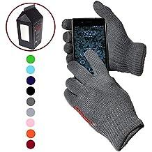 AXELENS Guantes cómodo y elástico para pantalla táctil - pantallas capacitivas - UNIVERSAL - Unisexos - Caja de regalo incluida! - AZUL Rudp7SLQN