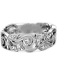 Señoras anillo de 925 plata de ley de lujo de la boda única para anillo de