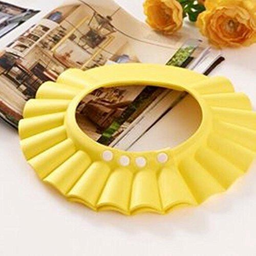 Colorfulworld Einstellbare Shampoo-Kappe Wasserdichte Ohrenschützer Baby-Duschhaube Baby-Shampoo-Kappe für Kinder (Gelb)