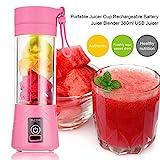 SODIAL 380ml Vaso botella de licuadora recargable USB Batidora de citricos de jugo Exprimidores de batido de leche fruta verduras limon Botella de exprimideras: Rosado