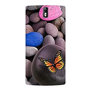 NEO WORLD Premium Pink Pebbles Butterflies Back Case Cover for One Plus One