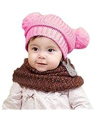 Tongshi Bebé lindo de la muchacha del muchacho para niños de doble bolas caliente del invierno hizo punto el casquillo del sombrero de la gorrita tejida(Rosa)