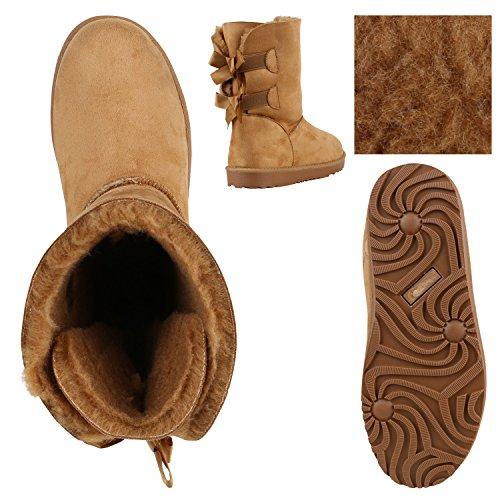 Damen Schuhe Schlupfstiefel Warm gefüttert Hellbraun Schleifen