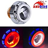 #8: Andride Projector Lamp High Intensity Led Headlight Stylish Dual Ring COB LED Inside Double Angel's Eye Ring Lens Projector For - All Bikes (Blue ,Red and White)