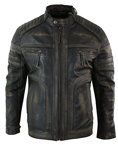 Veste homme cuir véritable noir marron vintage style vieilli biker décontracté