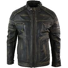 Veste homme cuir véritable noir marron vintage style vieilli biker  décontracté e9afb11b470