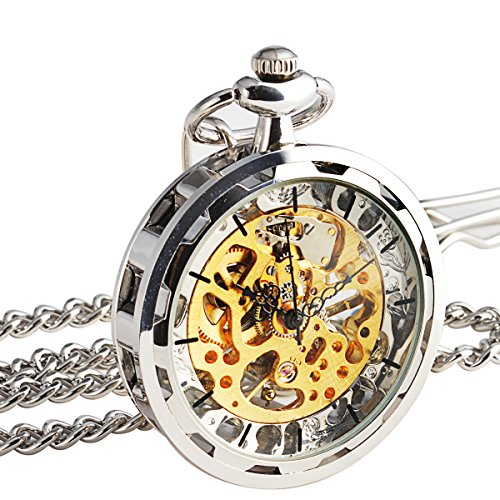 manchdar-mens-steampunk-transparent-open-face-pocket-watch-silver-skeleton-dial-with-chain-gift-box