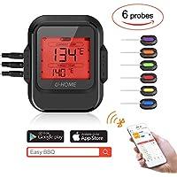 Termómetro digital para carnes, control remoto Bluetooth alimentos cocina digital termómetro para, barbacoa de horno de carne, gran pantalla LCD con alarma de temperatura, temporizador de cocina