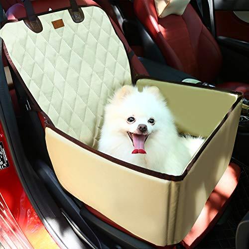 Pecomer Hund Autositzbezug 2 in1 Pet Bucket Cover Booster Sitz Rutschfest Wasserdicht Verstellbar Autositzabdeckung Sitzbezug Hundetransport Vordersitz für SUVs, Autos & Fahrzeuge (Beige) -