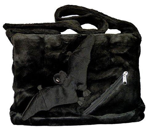 (BOBBL Große Plüsch Umhängetasche mit abnehmbarer Fledermaus - schwarz - Gothic, Emo Tasche)