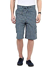 Hypernation Blue And White Color Checkered Cotton Three Fourth