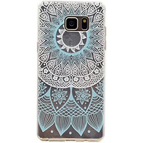 Skitic Elegante e Leggera Trasparente Protettivo Skin Custodia per Samsung Galaxy Note 5, Patterns Series Crystal Morbido Flessibile TPU Silicone Gel Case Cover per Samsung Galaxy Note 5 - Modello Blu