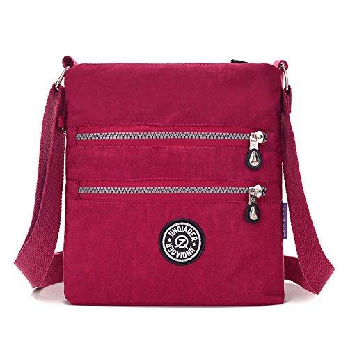Outreo Umhängetasche Damen Schultertasche Leichter Messenger Bag Reisetasche Wasserdicht Taschen Designer Kuriertasche Mode Sporttasche für Mädchen Rot 3