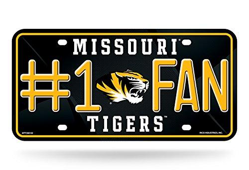 Rico NCAA # 1Fan Metall Auto Tag, Missouri Tigers, 12