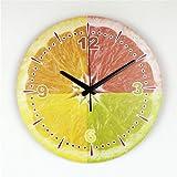 guyuell Dekorative Wanduhr der Modernen Zitronenwand mit Schöner Hauptdekor-Küchenwanduhr der Wasserdichten Ziffernblattgesichtsmode