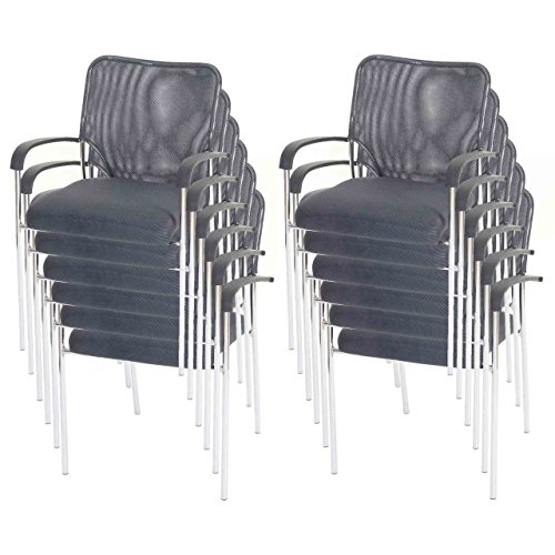 Mendler 12x Besucherstuhl Tulsa, Konferenzstuhl stapelbar, Textil ~ Sitz grau, Rückenfläche grau