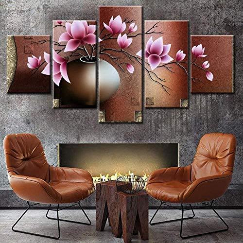 Samorou@ Bunte Blumen In Vintage Tontöpfe 5 Aufeinanderfolgende Hd Leinwand Gemälde Wohnzimmer Küche Home Decoration Diy Wandbilder-Holzrahmen