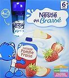 Nestlé Bébé P'tit Brassé Pomme Fraise - Laitage dès 6 mois - 4 gourdes de 90g - Pack de 4
