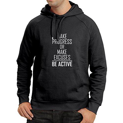lepni.me N4220H Sweatshirt à capuche manches longues Make Progress or make Excuses - BE ACTIVE (Medium Noir Blanc)