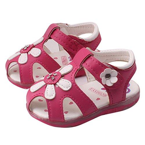 Culater® Bambino Nuovi girasole ragazze sandali illuminato suola morbida principessa Shoes Rosa caldo