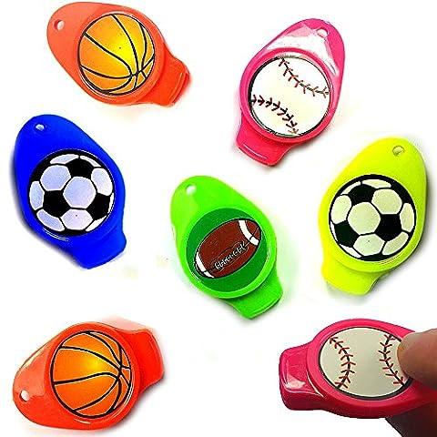 German Trendseller® - 6 x Sport Pfeifen - für Kinder ★ NEU ★ ┃ Kindergeburtstags Mix ┃ Mitgebsel ┃ Bunte Farben ┃ Bälle ┃ 6 Stück
