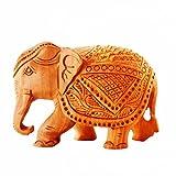 Purpledip 11260 Dekofigur Elefant, Holz, geschnitzt, Miniatur-Idol für Tischdekorationen, indisches Geschenk