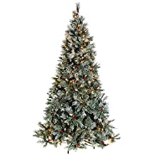 WeRChristmas Pre-Lit Scandinavian Spruce Pine Cone and Berry Christmas Tree, 1.8 m - 6 feet with 300-LED, Green