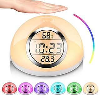AURSEN LED Wake up Light Lichtwecker, Digitaler Wecker mit Gestenerkennung Wecklicht (Snooze Funktion, Nachttischlampen Leselampen, 6 Natürlicher Klang,7 RGB-Farben)