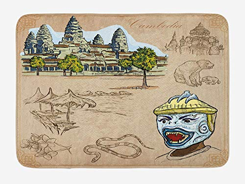 LULABE Travel Bath Mat, Hand Drawn Collection of Cambodia Angkor Wat and Animals Illustration, Plush Bathroom Decor Mat with Non Slip Backing, 23.6 W X 15.7 W Inches, Warm Taupe and Green -