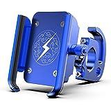 Porta Cellulare Bici - Universale Porta Cellulare Moto, 360 °Regolabile, Staffa per Cellulare in Lega di Alluminio per con Gancio, per Bicicletta Ciclismo, GPS E Altri Dispositivi Elettronici,Blu