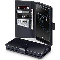 Xperia XA1 Ultra Case, Terrapin [ECHT LEDER] Brieftasche Case Hülle mit Standfunktion Kartenfächer und Bargeld für Sony Xperia XA1 Ultra Hülle Schwarz