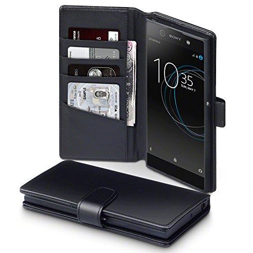 Terrapin, Kompatibel mit Sony Xperia XA1 Ultra Hülle, [ECHT LEDER] Brieftasche Case Tasche mit Standfunktion Kartenfächer und Bargeld - Schwarz EINWEG