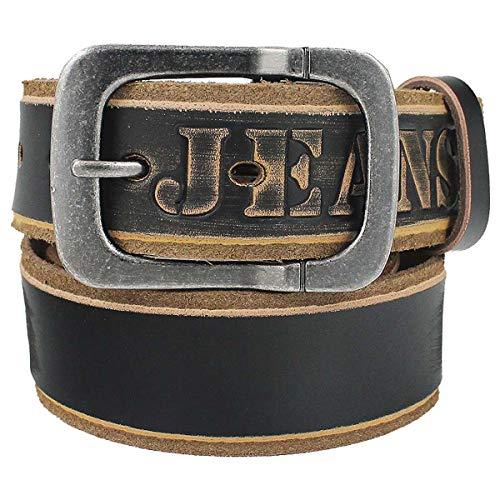 Jean Homme Ceinture en cuir de vachette Boucle Ardillon Marron G39 - Noir - 105 cm