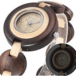 Alienwork Quartz Watch natural solid wood Wristwatch Handmade Ebonywood yellow black UM010A-01