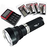 ThruNite® TN32 UT LED Taschenlampe mit Single CREE XP-L HI LED 1150 Lumen Waterpoof IPX-8 Schwarz(TN32 UT KaltWeiß+MCC-4S Akku-Ladegerät+4xThruNite 18650 3400Mah)