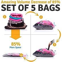 Sacchetti Sottovuoto Con Trifoglio Design - Buste Salvaspazio (confezione da 5) - Sacchi Per Vestiti, Copripiumino, Coperta, Telo Storage - Ideale per Viaggiare per Bagaglio
