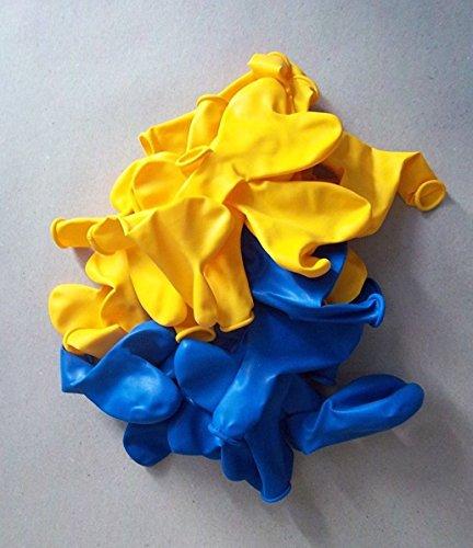 100 Blau gelb Herz-Luft-Ballon-s Hochzeit-Herzballons Herzluftballons-Deko-Geschenk-Idee-Schmuck-Schmücken-Helium geeignet- vom-Sachsen-Versand Deutscher Händler (Und Gelbe Blaue Luftballons)