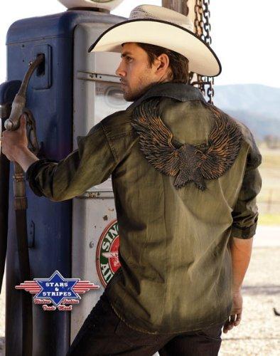 Stars & Stripes Cowboy Westernhemd Country Bikerhemd Dave Gr. XL Wild West Line Dance Kleidung -