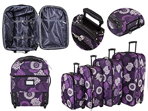 Trolley-Set mit 4 Rollen, Teleskopgriff, Kabinentasche, Trolley Violett Violette Blume Large